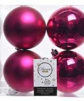Knalroze kerstversiering kerstballen kunststof 10 cm