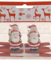 Knijper met kerstman en ster 4 stuks