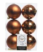 Koperen kerstballen van kunststof 8 cm