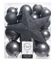 Luxe kerstballen pakket piek antraciet kunststof 33 stuks