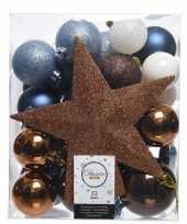 Luxe kerstballen pakket piek dennen blauw bruin wit kunststof 33 stuks