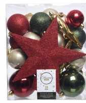 Luxe kerstballen pakket piek dennen groen goud rood kunststof 33 stuks