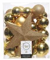 Luxe kerstballen pakket piek goud kunststof 33 stuks