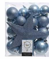 Luxe kerstballen pakket piek ijsblauwkunststof 33 stuks