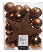 Luxe kerstballen pakket piek koper kunststof 33 stuks