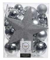 Luxe kerstballen pakket piek zilver kunststof 33 stuks