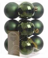 Nature christmas kerstboom decoratie kerstballen groen 12 stuks