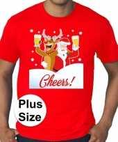 Plus size fout kerstborrel shirt kerst t shirt drunk santa rood voor heren