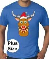 Plus size fout kerstborrel shirt kerst t shirt rudolf rendier blauw voor heren