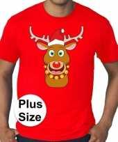 Plus size fout kerstborrel shirt kerst t shirt rudolf rendier rood voor heren