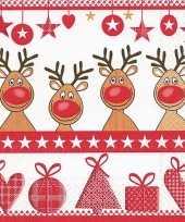 Rode kerst servetten met rendieren