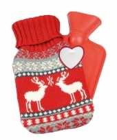 Rode kerst winter kruik met gebreide hoes 595 ml