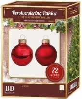Rode kerstballen pakket 72 delig christmas red combi glass