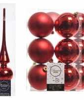 Rode kerstversiering kerstdecoratie set piek en 12x kerstballen 8 cm glans mat