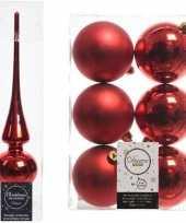 Rode kerstversiering kerstdecoratie set piek en 6x kerstballen 8 cm glans mat