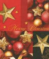 Rood gouden kerst servetten 20 stuks