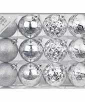 Set van 12x luxe zilveren kerstballen 6 cm kunststof mat glans