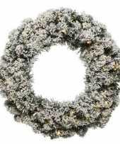 Set van 2x stuks kerst krans groen met sneeuw en verlichting 60 cm dennenkransen versiering decoratie