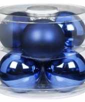 Tube met 12 blauwe kerstballen van glas 10 cm glans en mat