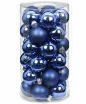 Tube met 30 blauwe kerstballen van glas 4 cm glans en mat