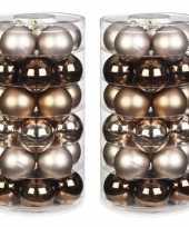 Tube met 60x bruine gouden champagne kerstballen van glas 6 cm