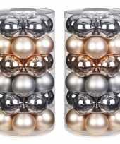 Tube met 60x champagne zilveren kerstballen van glas 6 cm glans en mat