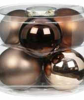 Tube met 6x bruine champagne gouden kerstballen van glas 10 cm glans en mat