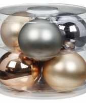 Tube met 6x champagne zilveren kerstballen van glas 10 cm glans en mat