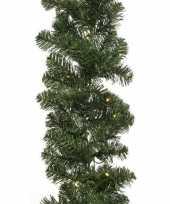 Verlichte kerst guirlande slinger groen met verlichting 270 cm dennenslinger versiering decoratie