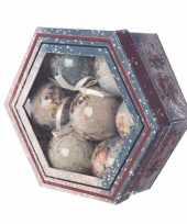 Vintage kerstballen set 7 stuks 7 5 cm