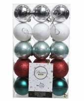 Zilver rood groene kerstballen set 6 cm
