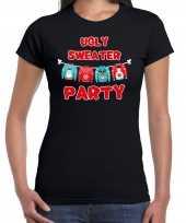 Zwart kerstshirt kerstkleding ugly sweater party voor dames